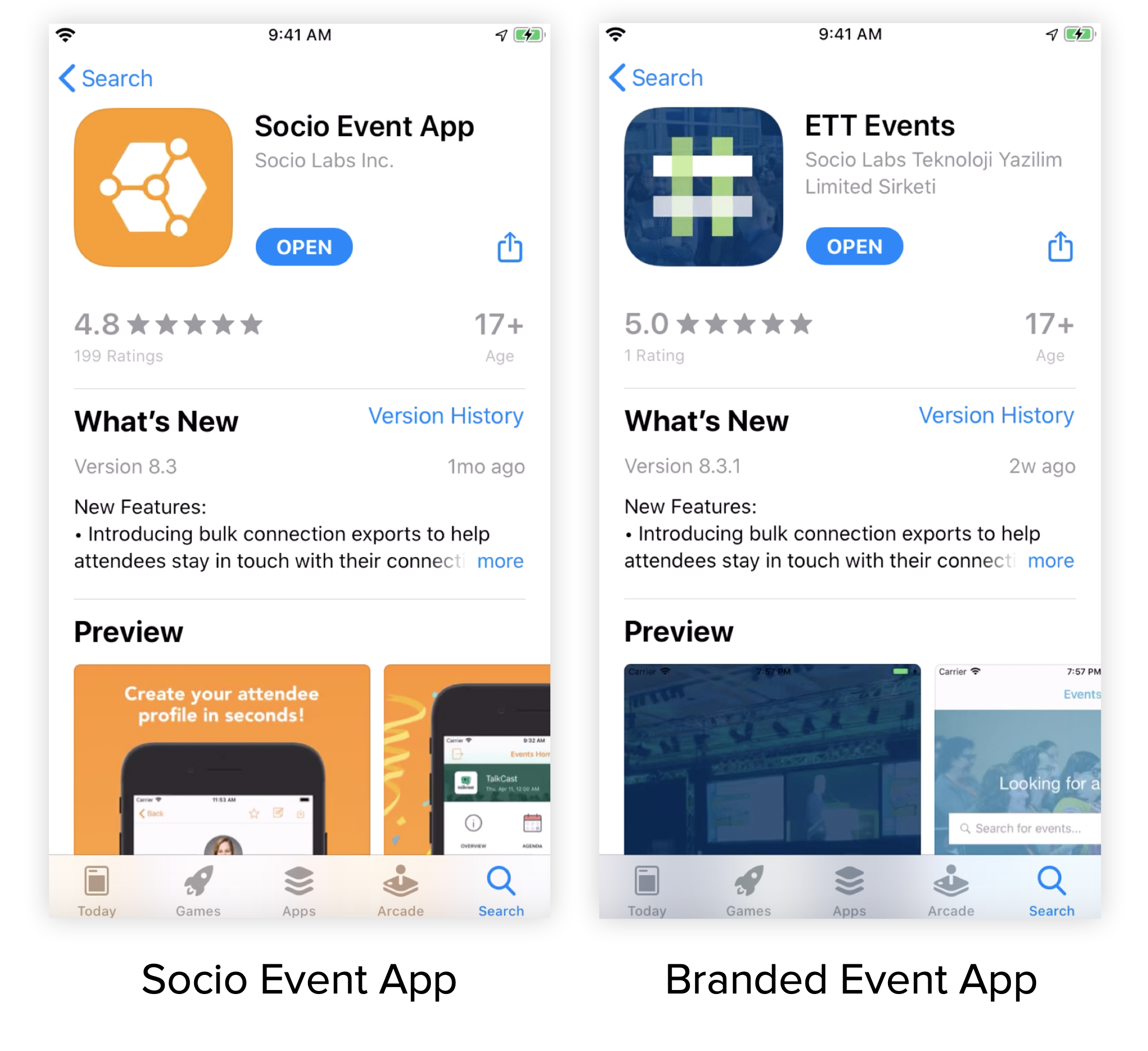 Two screenshots. One of the Socio Event App in the Apple App Store, and the other of a Branded App.