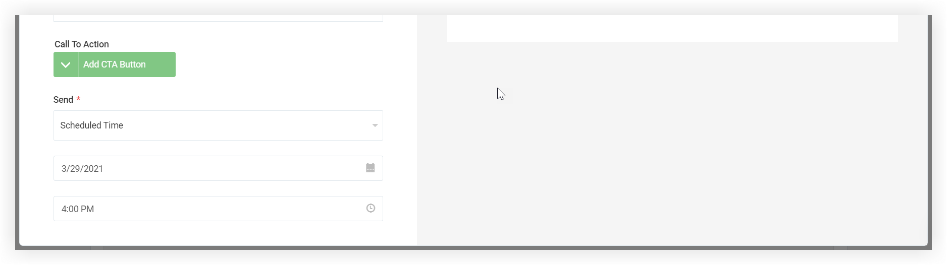Screenshot of the Send portion of the New Email modal. Scheduled Time is selected.