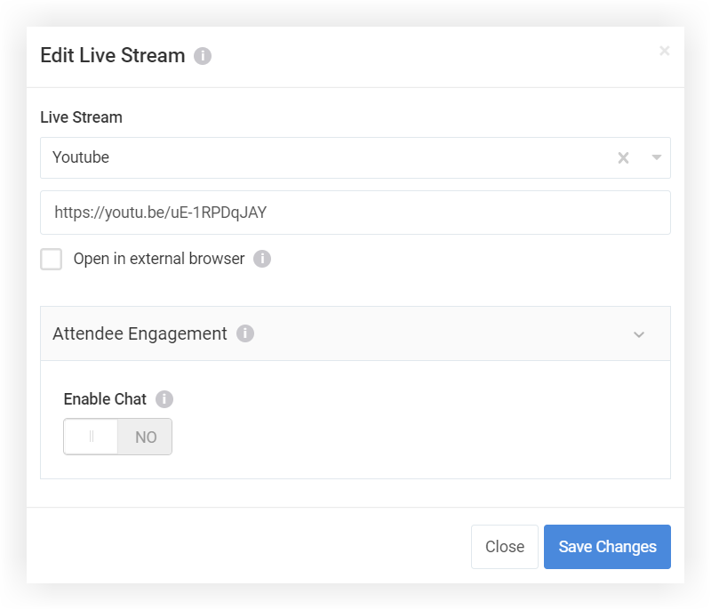 Screenshot of the Edit Live Stream pop-up with YouTube selected and a URL filled in.