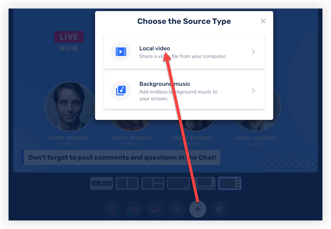 Screenshot of the Choose the Source Type modal.