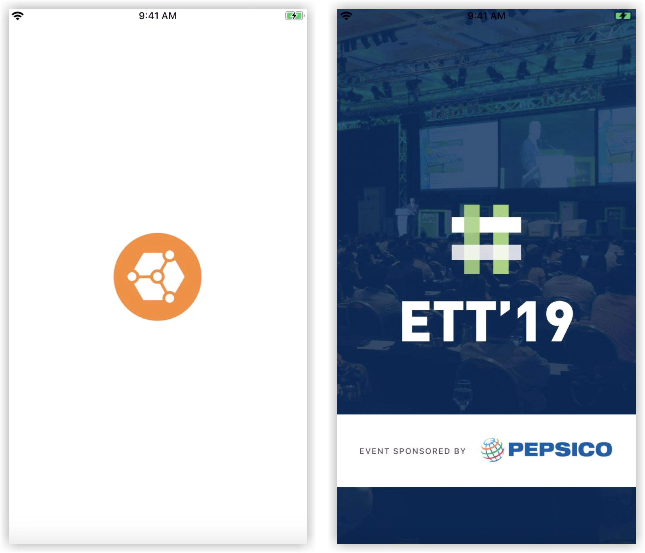 Two screenshots. One of the Socio Event App's splash screen, and the other of a Branded App splash screen.